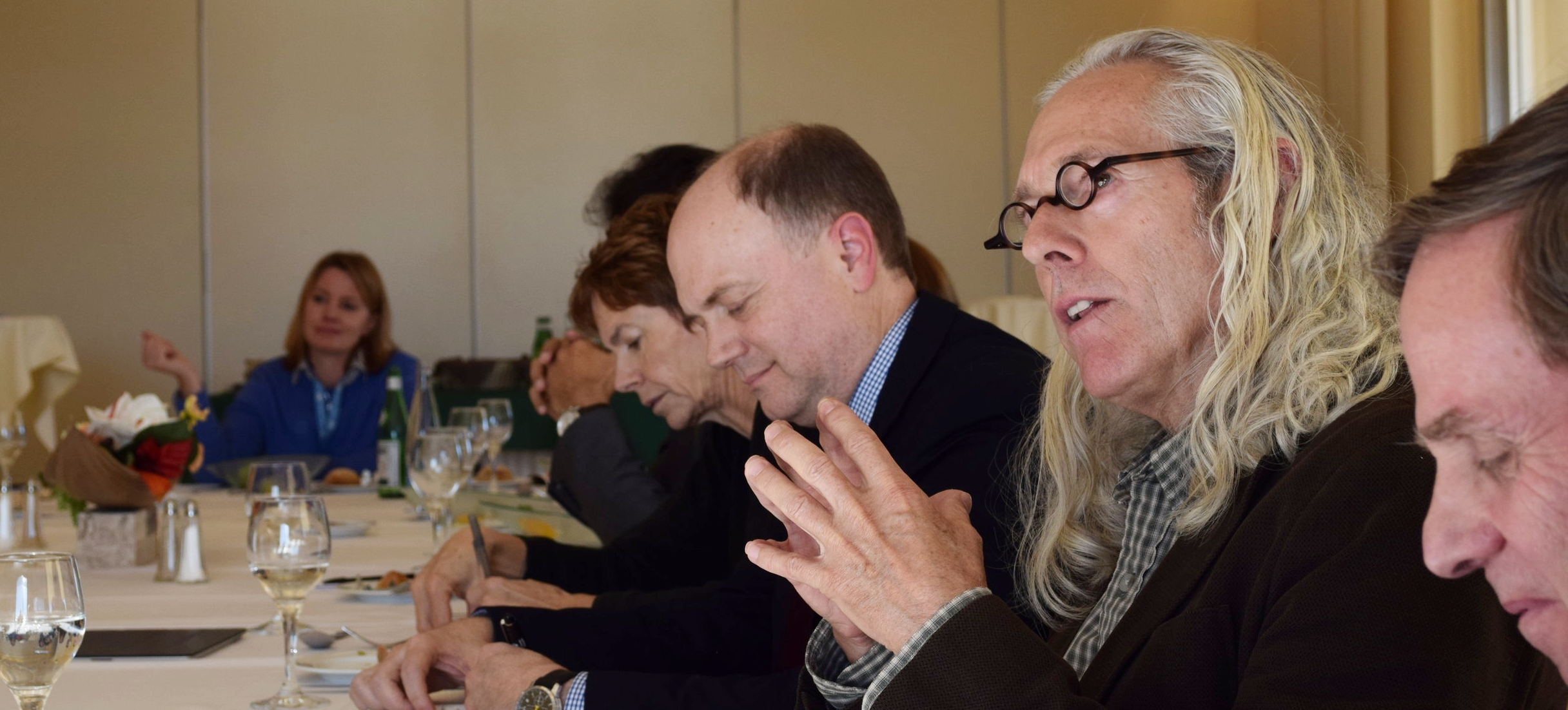 Mike Posner and Auret van Heerden discuss best practices for multistakeholder initiatives (MSI) at a convening for MSIs in Geneva
