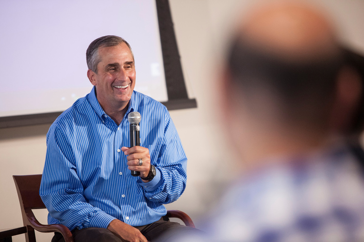 Krzanich addressed a packed audience at NYU Stern in September 2014.