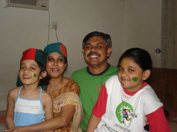 The writer with her family, watching cricket