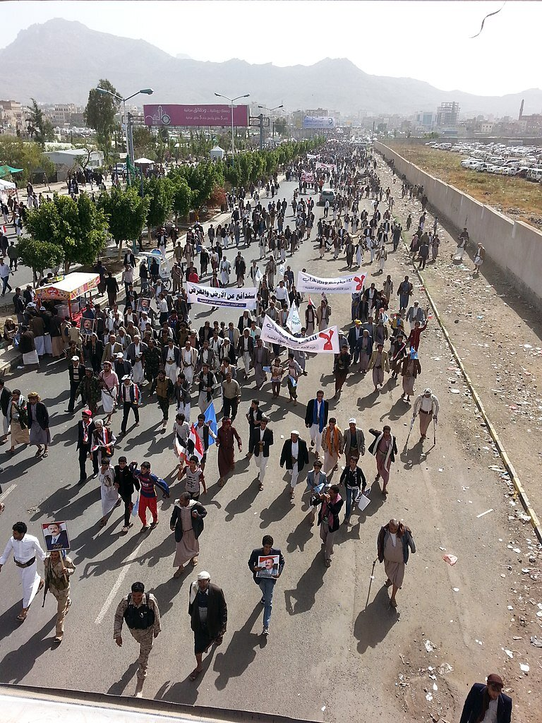 - Yemenis protest against the bombardment by F-16 fighter jets in 2016. F-16s are used by the Saudi-led coalition supporting Hadi's government against the Houthi rebels.