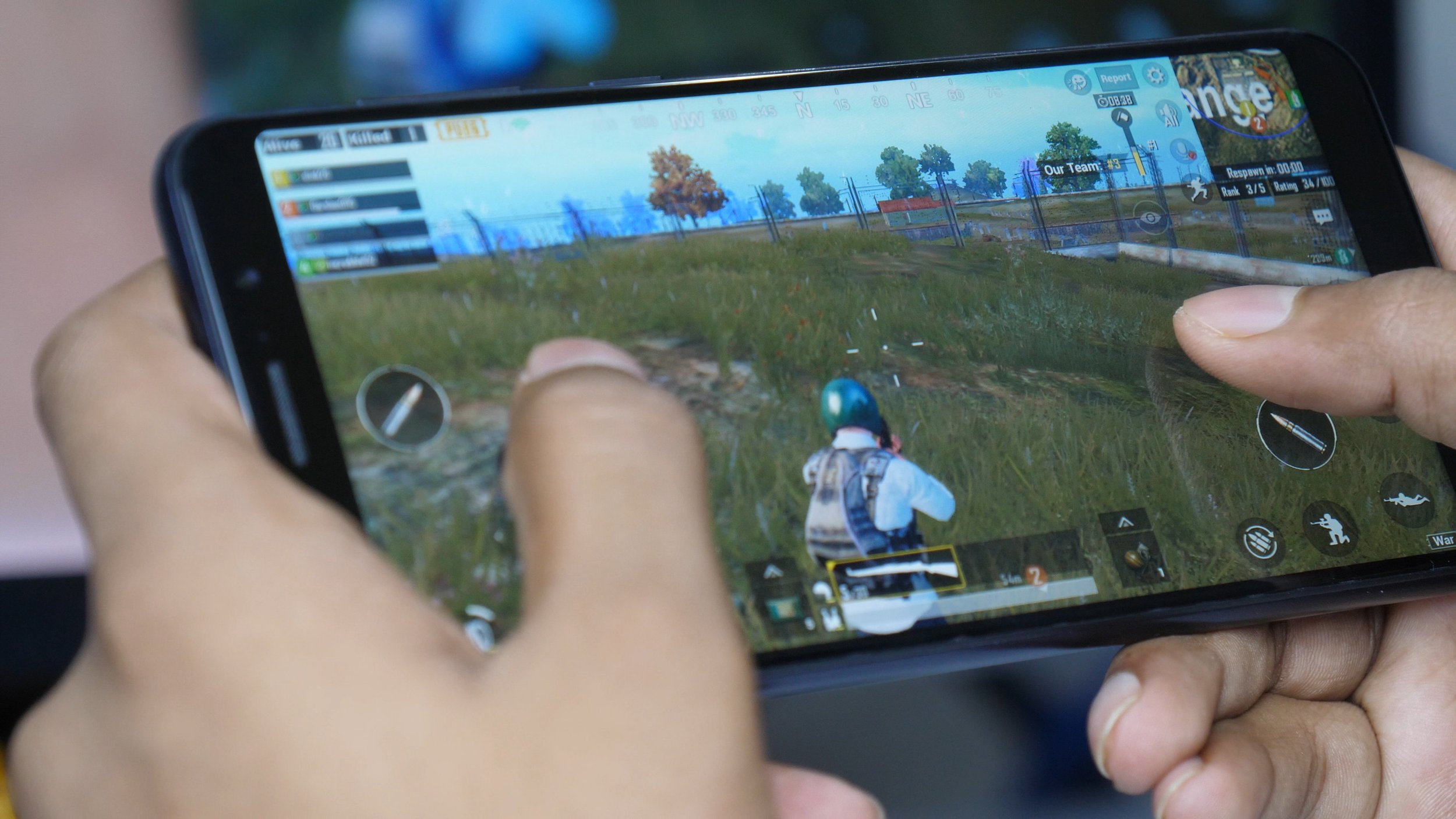 A player plays the mobile version of PUBG. Widespread smartphone usage and fast internet speeds in India have made the game easily available to millions.