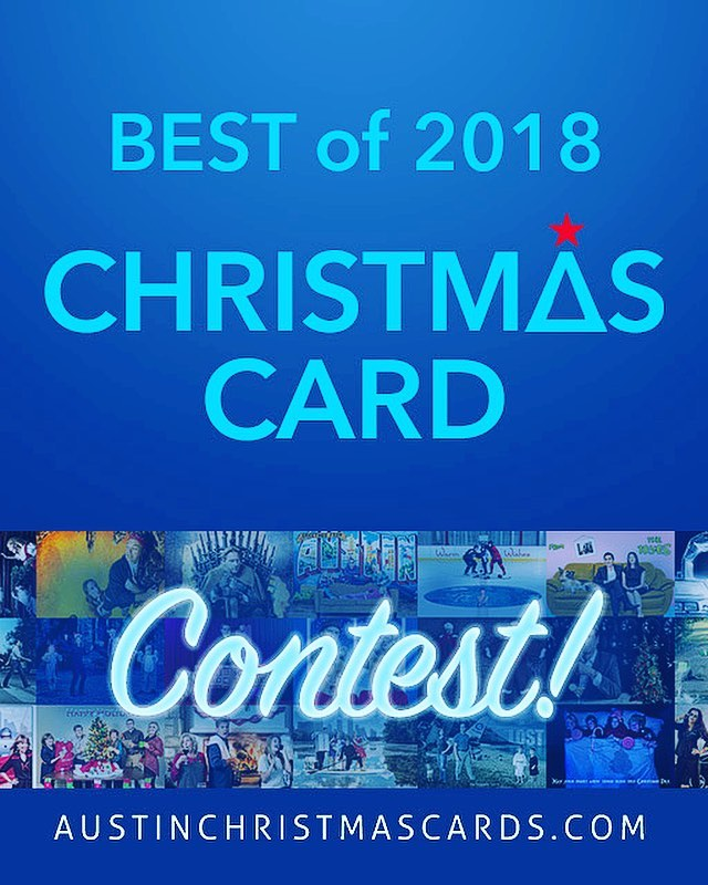 """It's time for the annual Christmas card contest! Every year I have a fan-favorite contest to pick the best card from the prior season's work. This year there are 9 finalists. The winning family gets a 20""""x30"""" canvas of their image plus the amazing Refrigerator Trophy! Check out the contestants and vote for your favorite at austinchristmascards.com (link in profile)."""