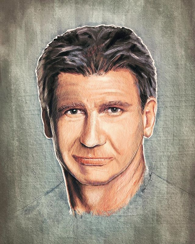 Here's a fun practice painting from a few years ago, where I attempted to paint a younger Harrison Ford. Of course there are things I don't like about it, but I do like the texture effects I was getting throughout (gotta zoom in to see those). Should he have died in Episode 7? No! 😂