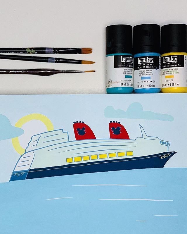 Here's a sneak peek at the corner of a new painting I'm working on for our family. Last year, we fell in love with Disney cruises. We've been on 2 (the Magic and the Fantasy). I wanted to create a special piece that captures a favorite moment for our family from the cruise.  Can you guess which ship this is? There is one clue that gives it away if you know what to look for :) Looking forward to finishing this painting, sharing it here, and then having it in our home. It brings me smiles every time I look at it!