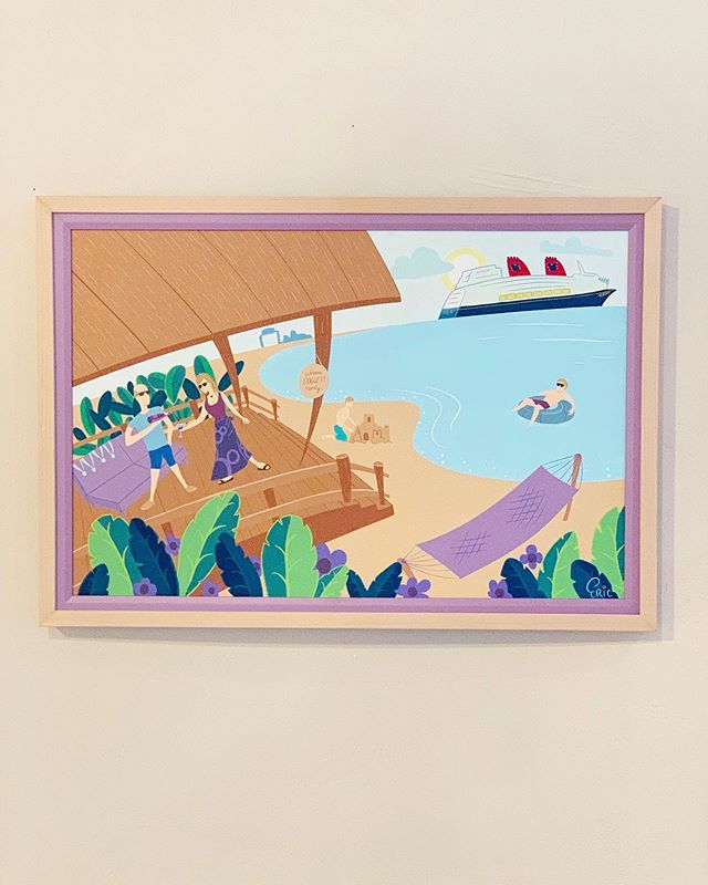 """Just got the frame in for my 20""""x30"""" """"Cabana"""" painting, and it looks great! I love how the purple edge in the frame perfectly matches the purple I used to paint. And it looks great on the wall too. Thanks @austinartframe for the great work!"""