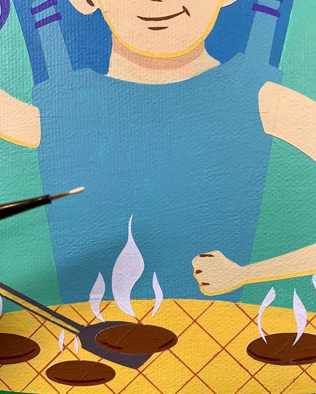Almost there. Those burgers are looking tasty! . . . . . #greenegg #grill #grilling #grillingseason #backyardbbq #bbqtime #biggreenegg #artoftheday #artwork #artistic #artistsofinstagram #colorful #atx #illustration #illustrationart #wip #acrylicpaint #acrylic #wip #arts #austin #austintexas #texas #art #austinart  #atxstyle #atxlife #colorful #austinart #fineart