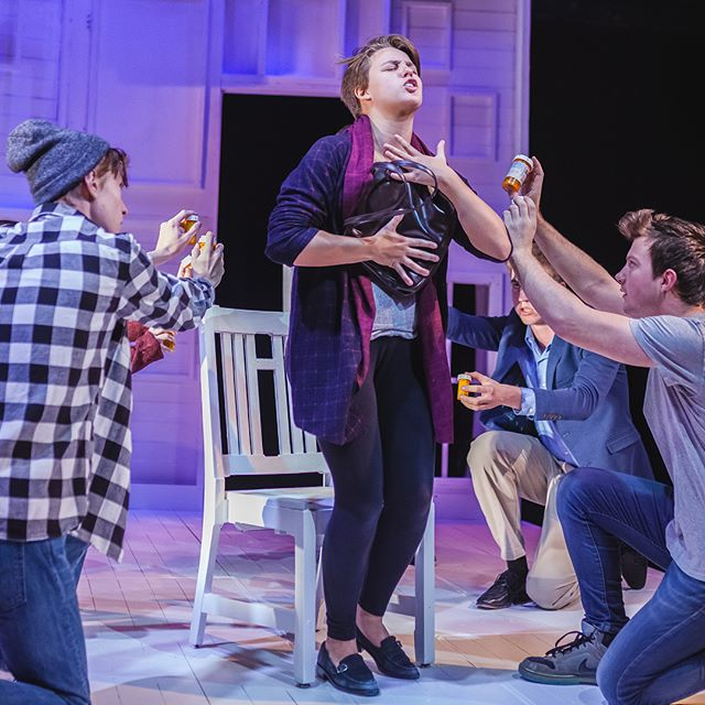 """Theater and Performance Studies (TAPS) students perform in """"Next to Normal"""" this past November of 2017. """"Next to Normal"""" asks, How do we respond to crisis? Does that change depending on who's watching? Winner of three 2009 Tony Awards and the 2010 Pulitzer Prize, Next to Normal investigates the effects of mental illness and trauma on a family that's desperately trying to keep it together. Accompanied by an energy-filled score, this pop-rock musical by Tom Kitt and Brian Yorkey questions the ethics of modern psychiatry and what it means to be """"normal."""" . . . #taps #universitytheater #uchicago #uchicagoarts #theater"""
