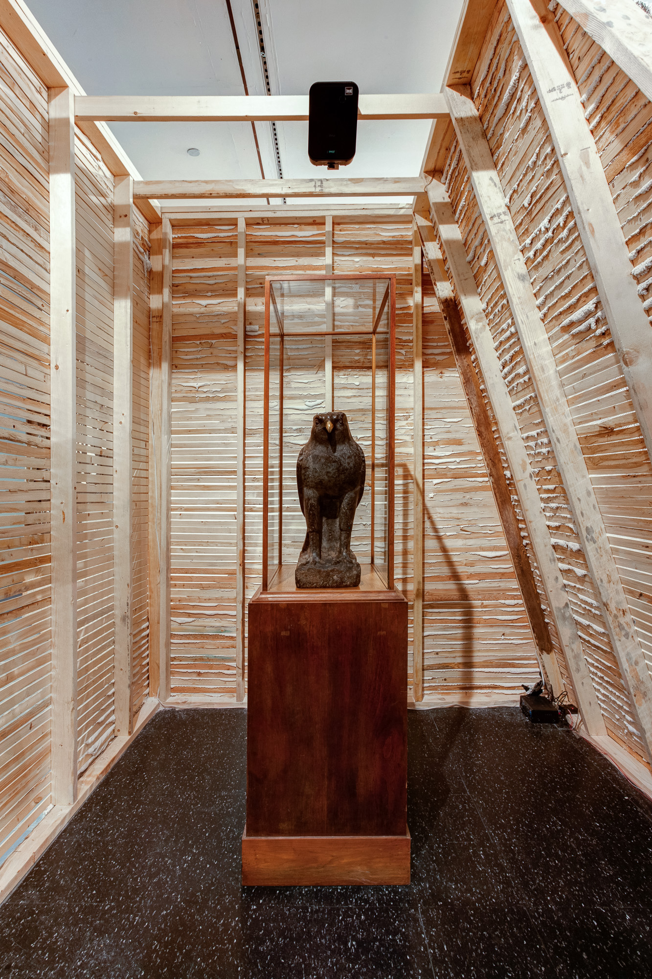 Sculpture of Horus. Installation view of  Atlas Unlimited (Acts V-VI) . Photo: Robert Chase Heishman