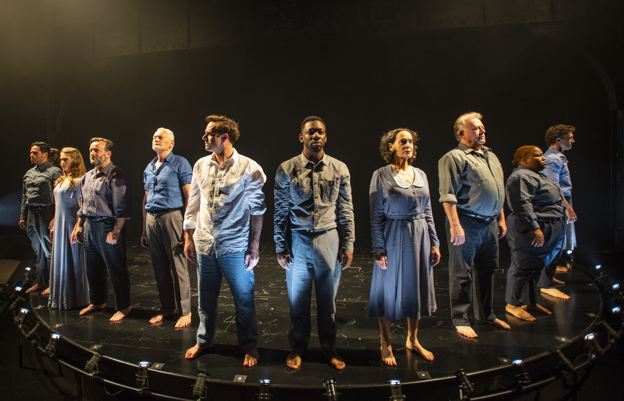 From L to R: The cast of The Adventures of Augie March . Photo by Michael Brosilow.