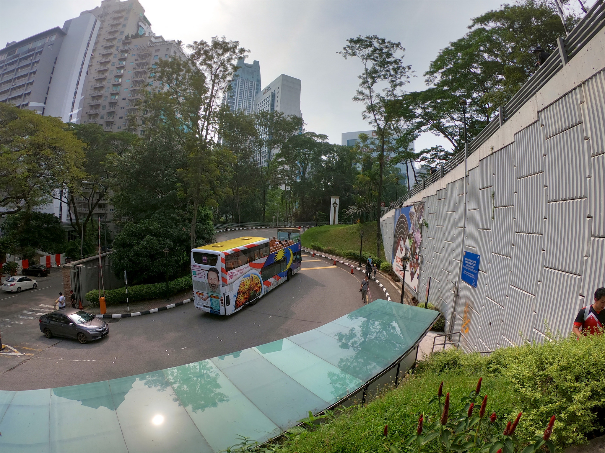 Open-topped bus going up the hill