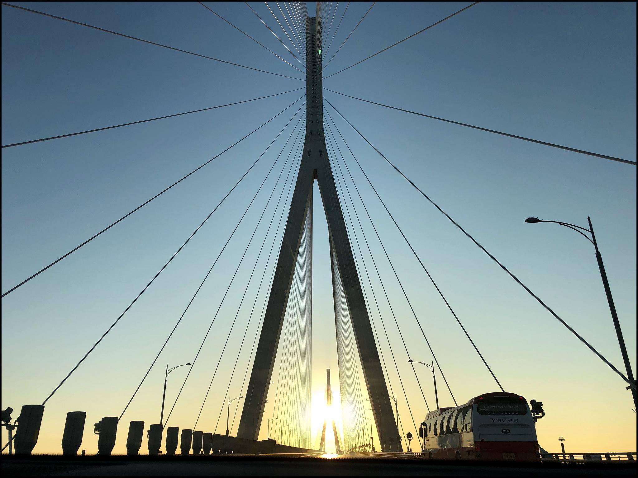 The Incheon Bridge heading into Seoul as the sun was rising