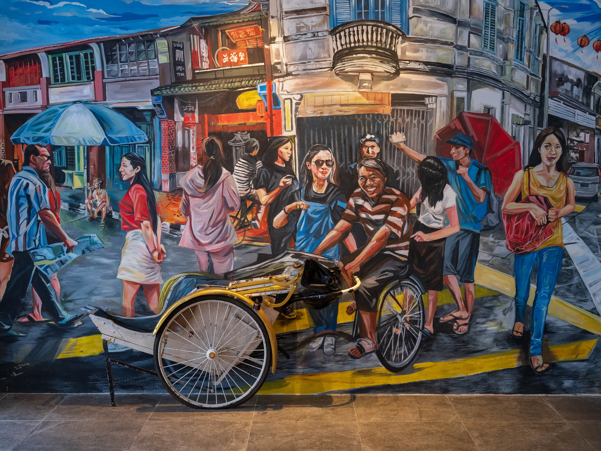 Nice-looking mural at the entrance of Makan Kitchen