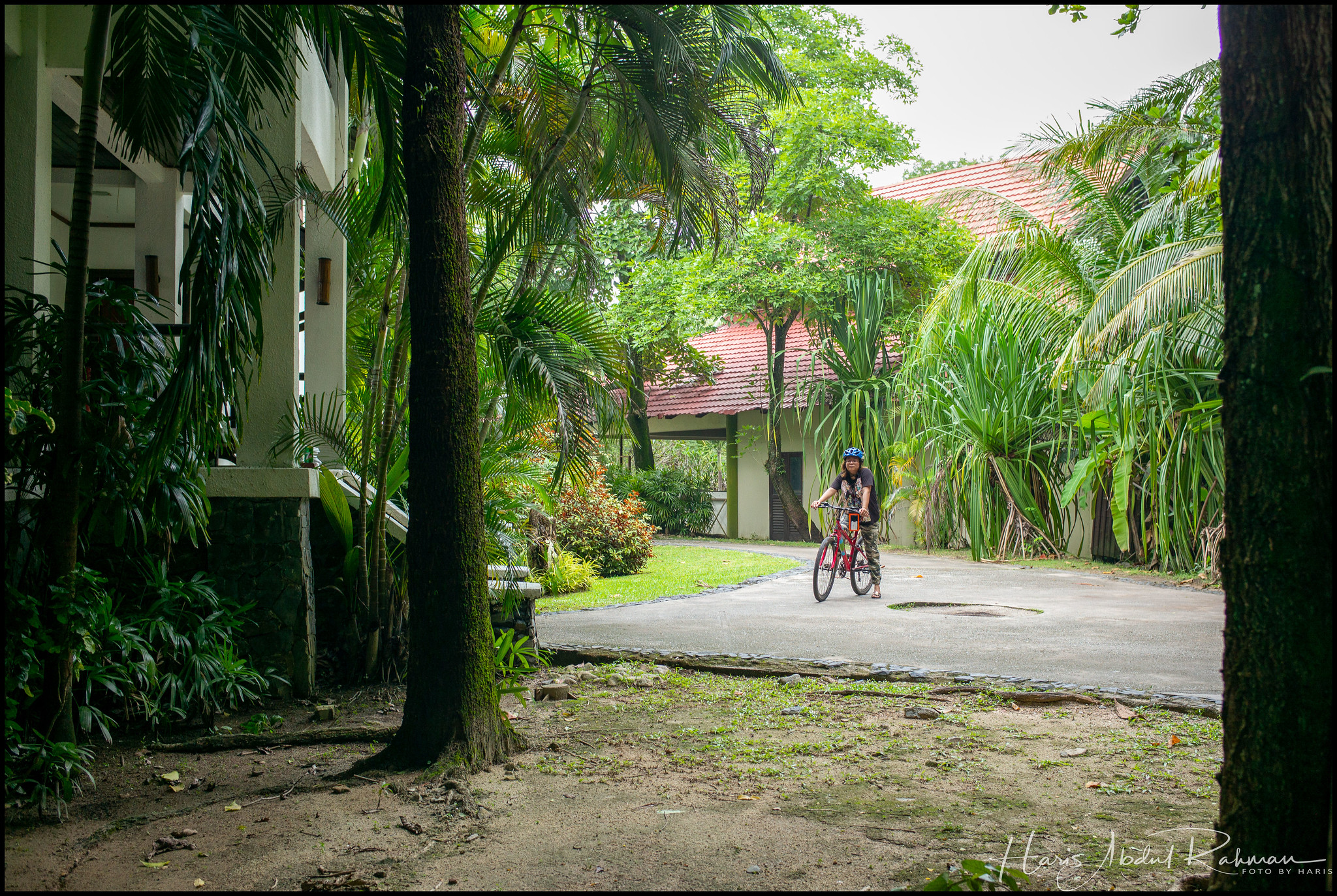 Anita passing by other parts of the resort