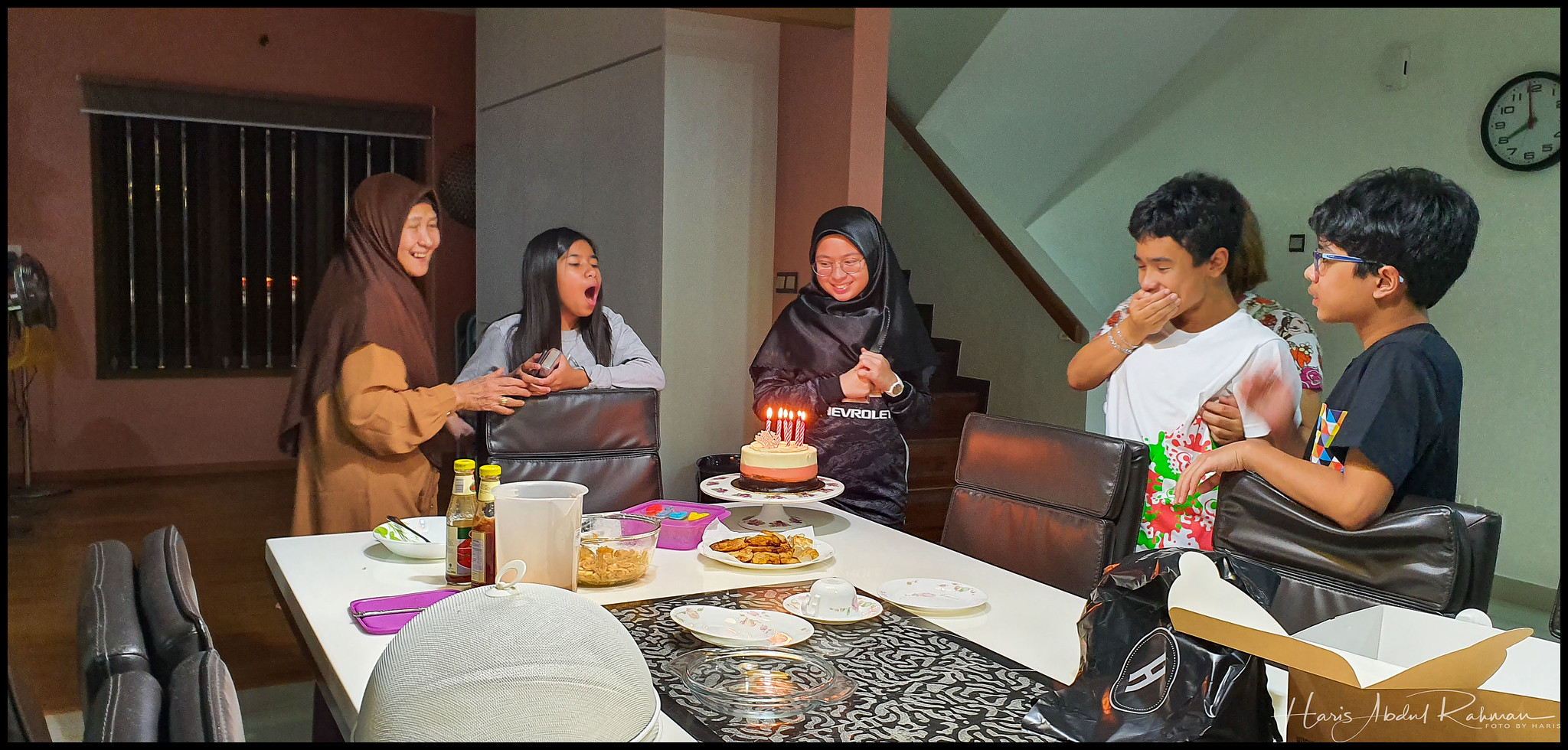 Celebrating Nana's birthday before leaving for the airport
