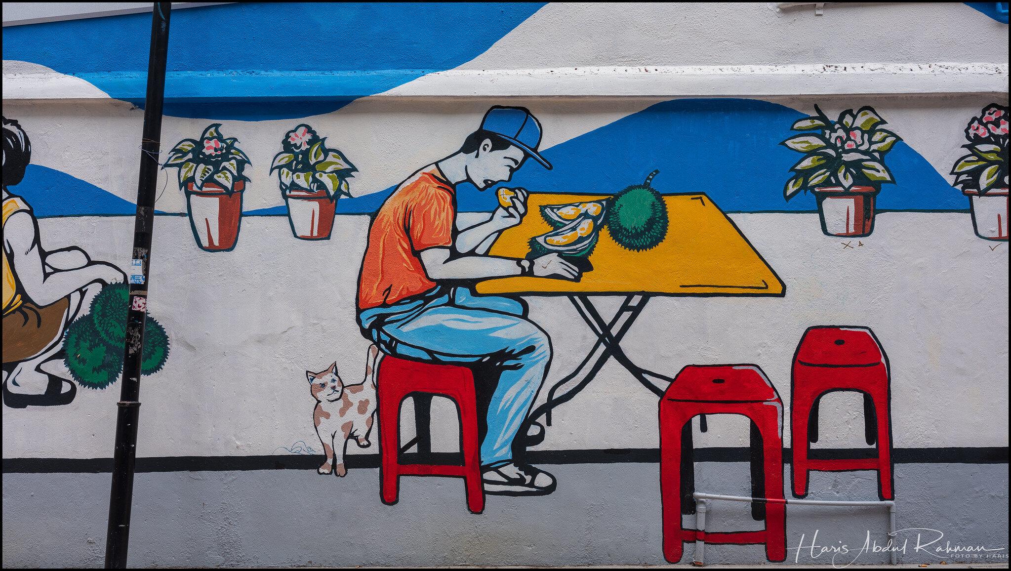 A man eating durian - Jalan Alor