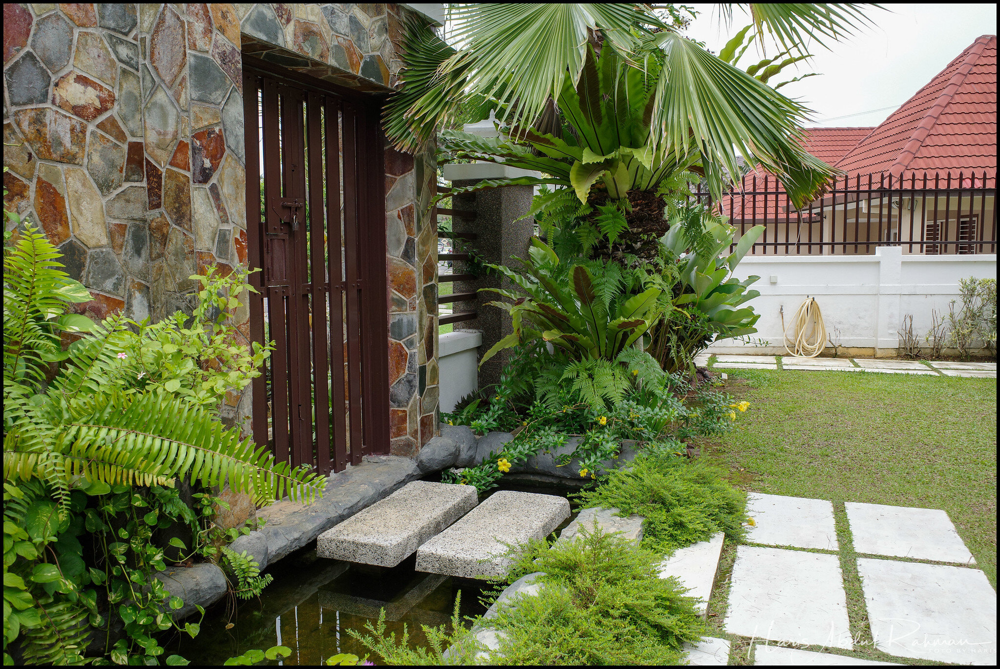 A water feature by the front gate