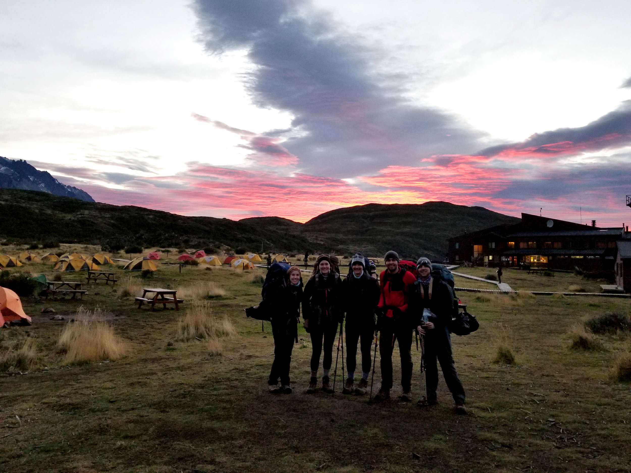 Here we are on day 2 of the W trek -- off to an early start, and catching an incredible sorbet colored sunrise.