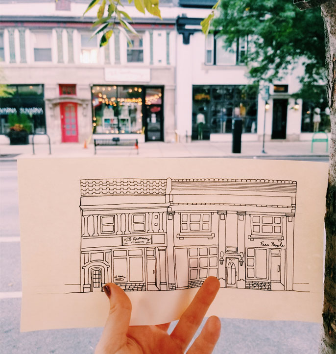 A drawing I did this month of some old buildings on my street.