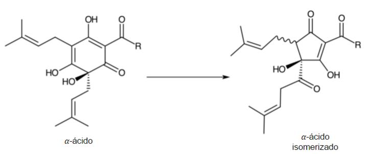 """Figura 12.    Isomerización de un α-ácido en un iso-α-ácido. Existen diferentes α-ácidos, y cada uno se distingue por las cadenas que pueden surgir de donde aparece la letra """"R"""" en la figura —al final del """"brazo"""" derecho—. Lo bonito de esto, es que el proceso de isomerización es prácticamente el mismo para la variedad de α-ácidos ya que sucede en la parte inferior de los compuestos."""