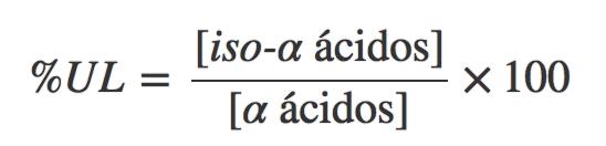 La utilización de lúpulo (%UL) es igual a la relación entre la concentración de los iso-α-ácidos en el mosto/cerveza y la concentración de los α-ácidos que se agregaron. En otra entrada hablaremos de la utilización del lúpulo con más detalle ya que depende de muchos factores.