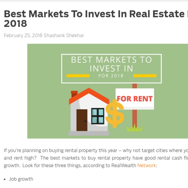 Best Markets to Invest In Real Estate For 2018    on MortgageBlog.com