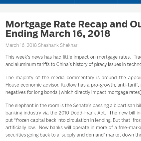 Mortgage Rate Recap and Outlook For Week Ending March 16, 2018    on MortgageBlog.com
