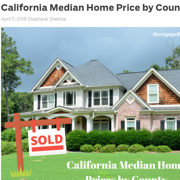 California Median Home Price by County    on MortgageBlog.com