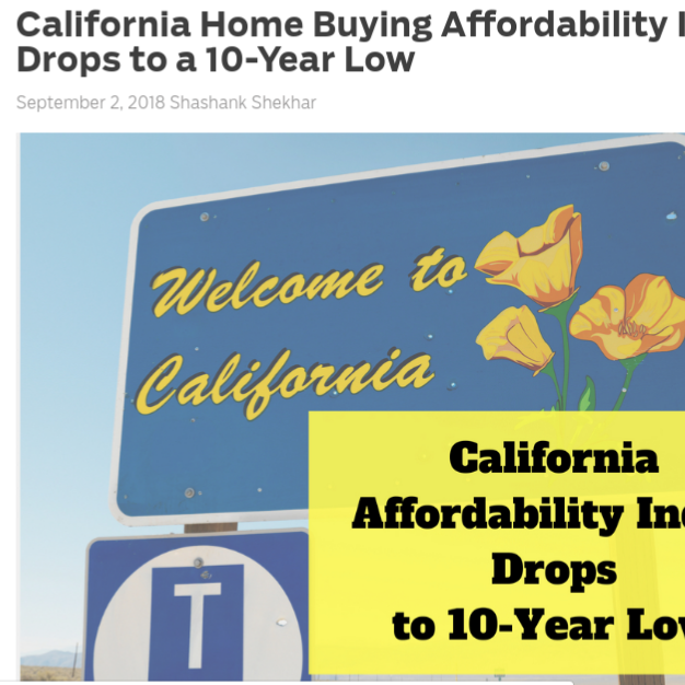 California Home Buying Affordability Index Drops to a 10-Year Low    on MortgageBlog.com