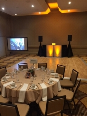 """Mira Monte Resort and Spa. Indian Wells, CA    100"""" Projector Screen- add on. (additional services)    Customizable Up-lighting to match wedding colors."""
