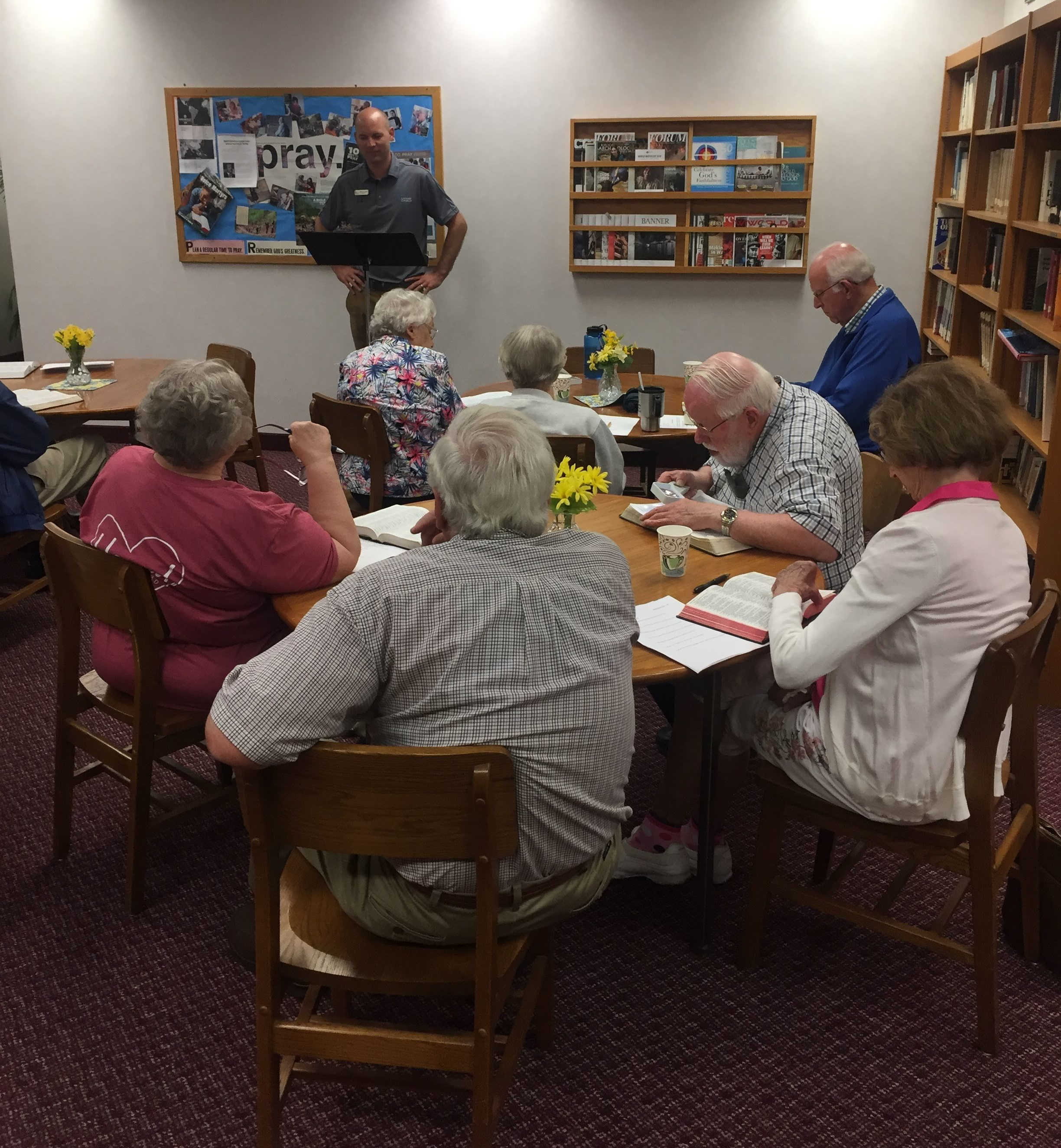 Senior Adventures - Senior citizens gather in Calvary's library the 2nd Tuesday of each month at 1:00 pm to study Scripture passages related to Sunday's sermon. Pastor Nick leads the group because he loves sharing God's Word with others and being blessed by sharing the study and conversations.Contact Pastor Nick at pastornick@calvarycrc.net for Senior Adventures.