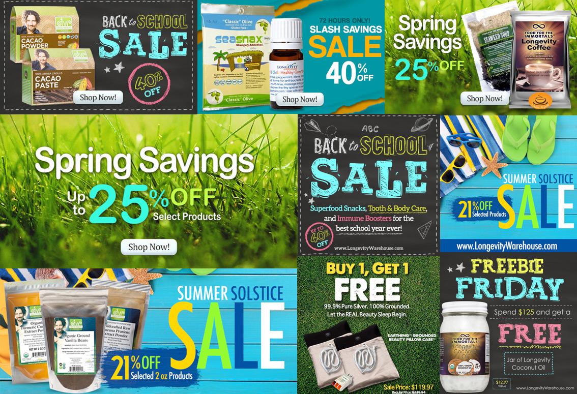 Promotional Banner Designs - New Horizon Health/Longevity Warehouse