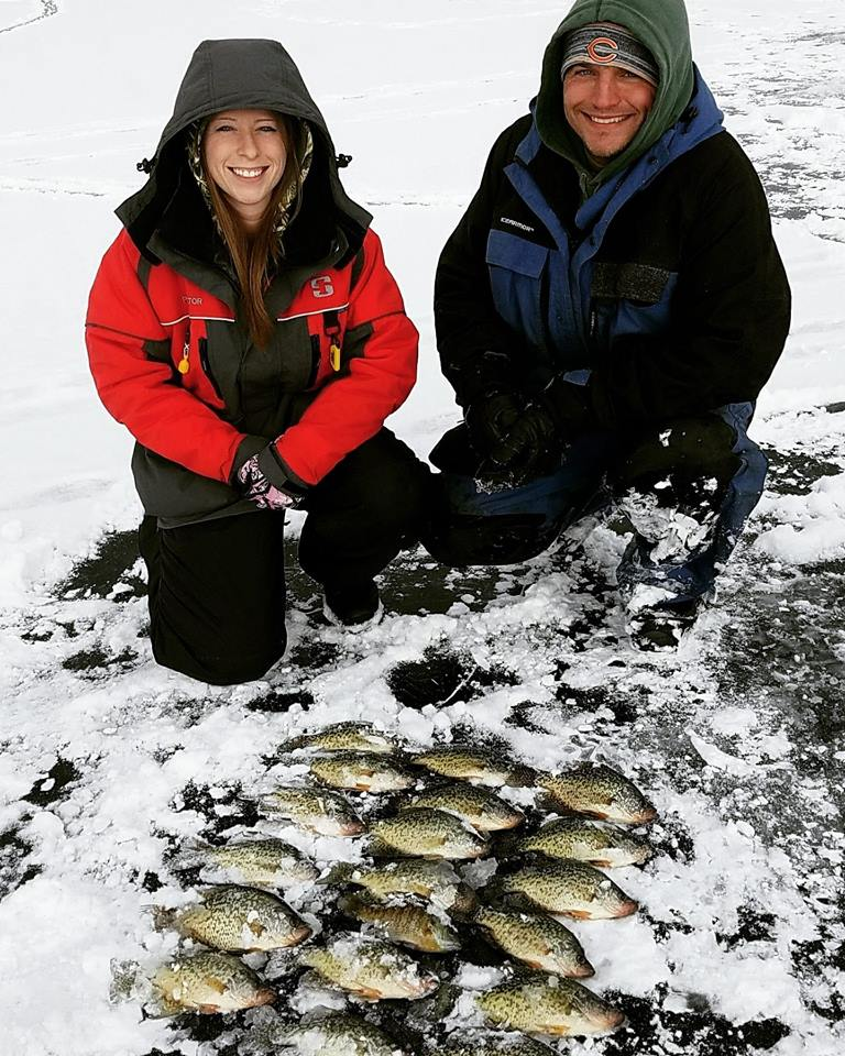 Ice fishing with Field Staffer Peter Hrubes and his girlfriend