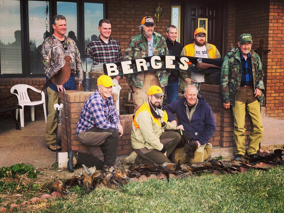 10 hunters taking 26 birds opening day at Berges Farms. Field Staffer Tim Berges, second from far right