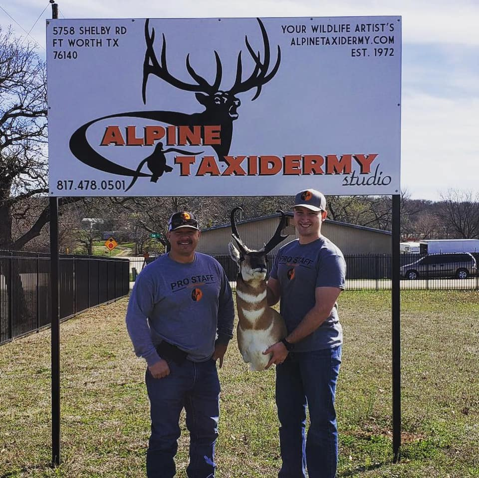 Administrator's Chester Barnes (left) and Sam Thrash picking up Sam's 2018 Montana Antelope from Alpine Taxidermy
