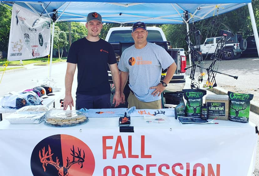 CEO Sam Thrash (left) and Senior Vice President Chester Barnes manning the Fall Obsession booth at the Cruisers and Crawfish Show in Cleburne, TX