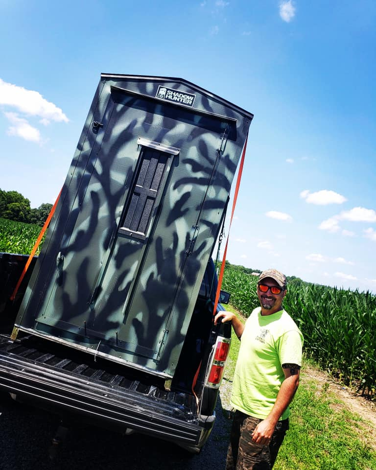 Field Staffer Todd Sellon taking delivery of his new Shadow Hunter blind