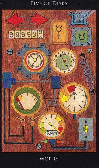 5 of Disks, from Mel Meleen's  Rosetta Tarot