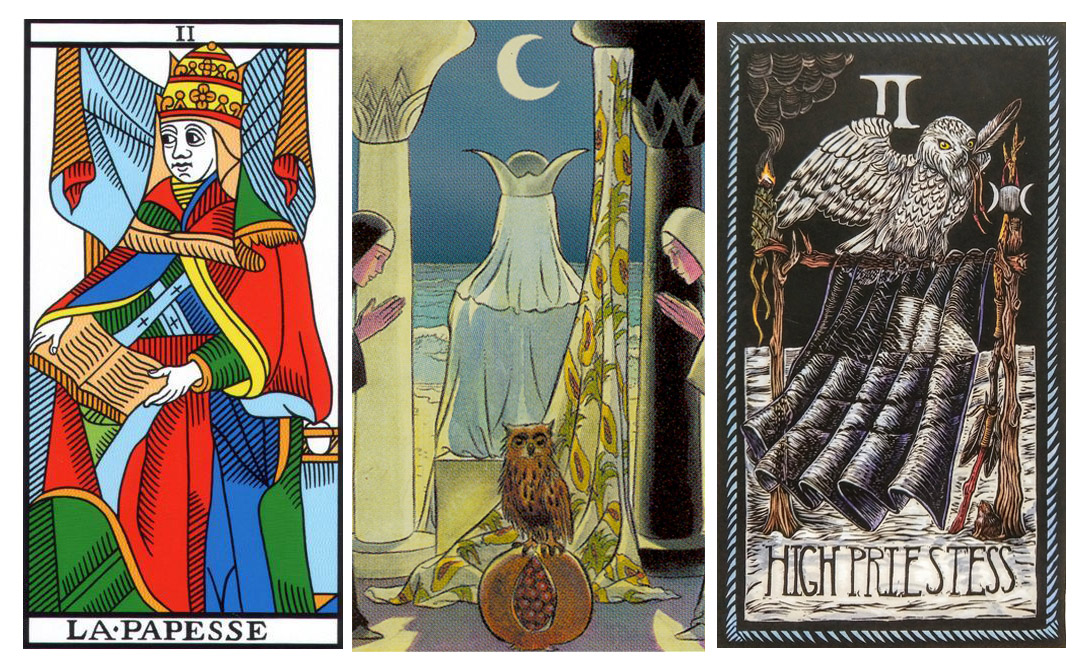 Priestesses from the Jodorowsky-Camoin Tarot de Marseilles, the Vice Versa Tarot and the Brady Tarot