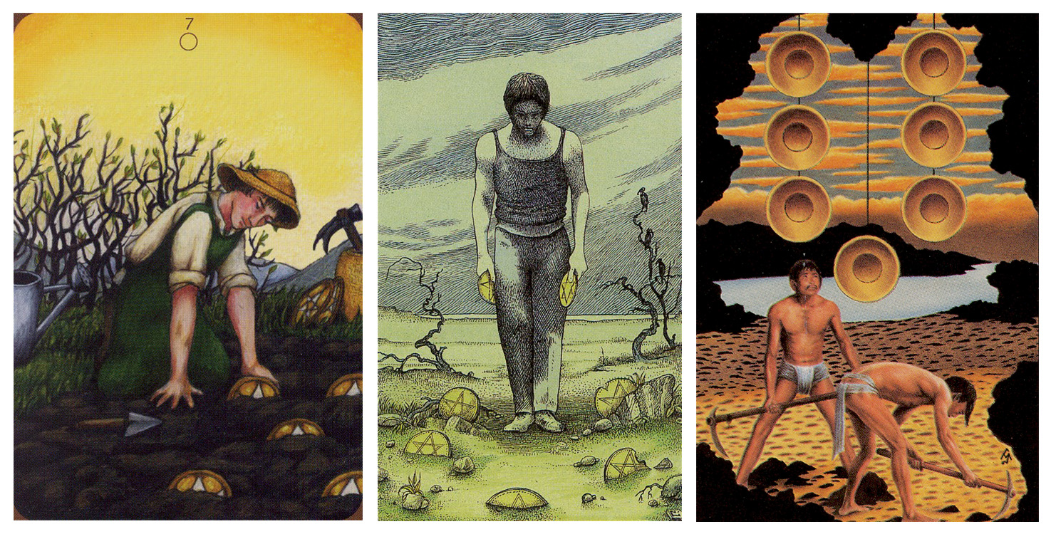 By the sweat of their brows: 7 of Pentacles/Coins/Disks from  Anna K Tarot ,  Cosmic Tarot , and  Tarot of the Ages .