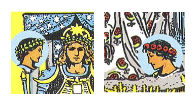 Note the wreaths worn by the couple in the 2 of Cups. Hers references the Chariot; his references the Empress.