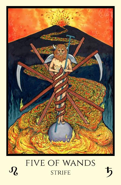 Zurvan, Zoroastrian god of time, and his volcano (from M. M. Meleen's  Tabula Mundi).