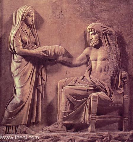 The least grisly rendering of the Kronos story I could find. Here Kronos is accepting what he thinks is the baby Zeus wrapped in swaddling clothes. Think again, Titan!