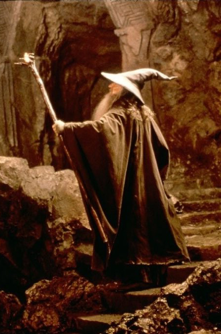 Gandalf lights the way through the mines of Moria.
