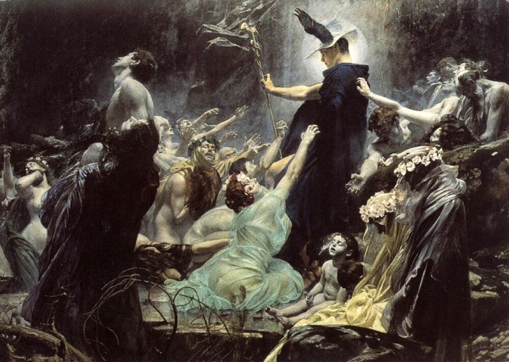 The Souls of Acheron , by Adolf Hirémy-Hirschl (1898) One of my all-time favorite portraits of my thrice-great boss at work.