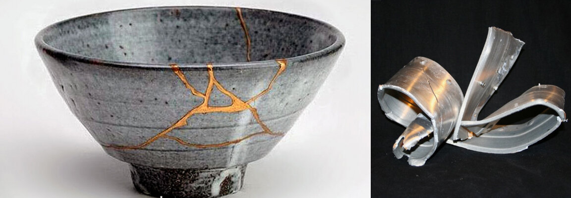 "Fig. 1.  The Japanese art of kintsugi - repairing broken ceramics with gold-powder lacquer.  Fig. 2.  From the elegant to the absurd: twisted wreckage from Durham, NC's famous 11' 8"" ""can-opener bridge"". Sold for $52. [Visit  11foot8.com  if you want to watch many many videos of too-big trucks trying to pass under this extra-low railroad bridge.]"
