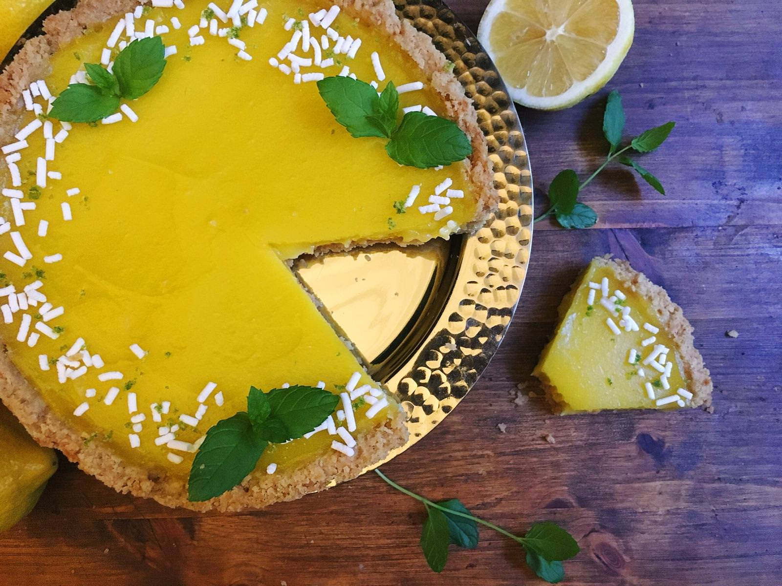 This dairy-free lemon tart tastes as rich and indulgent as it's butter-filled counterpart. The short crust and lemon curd sub olive oil for butter.