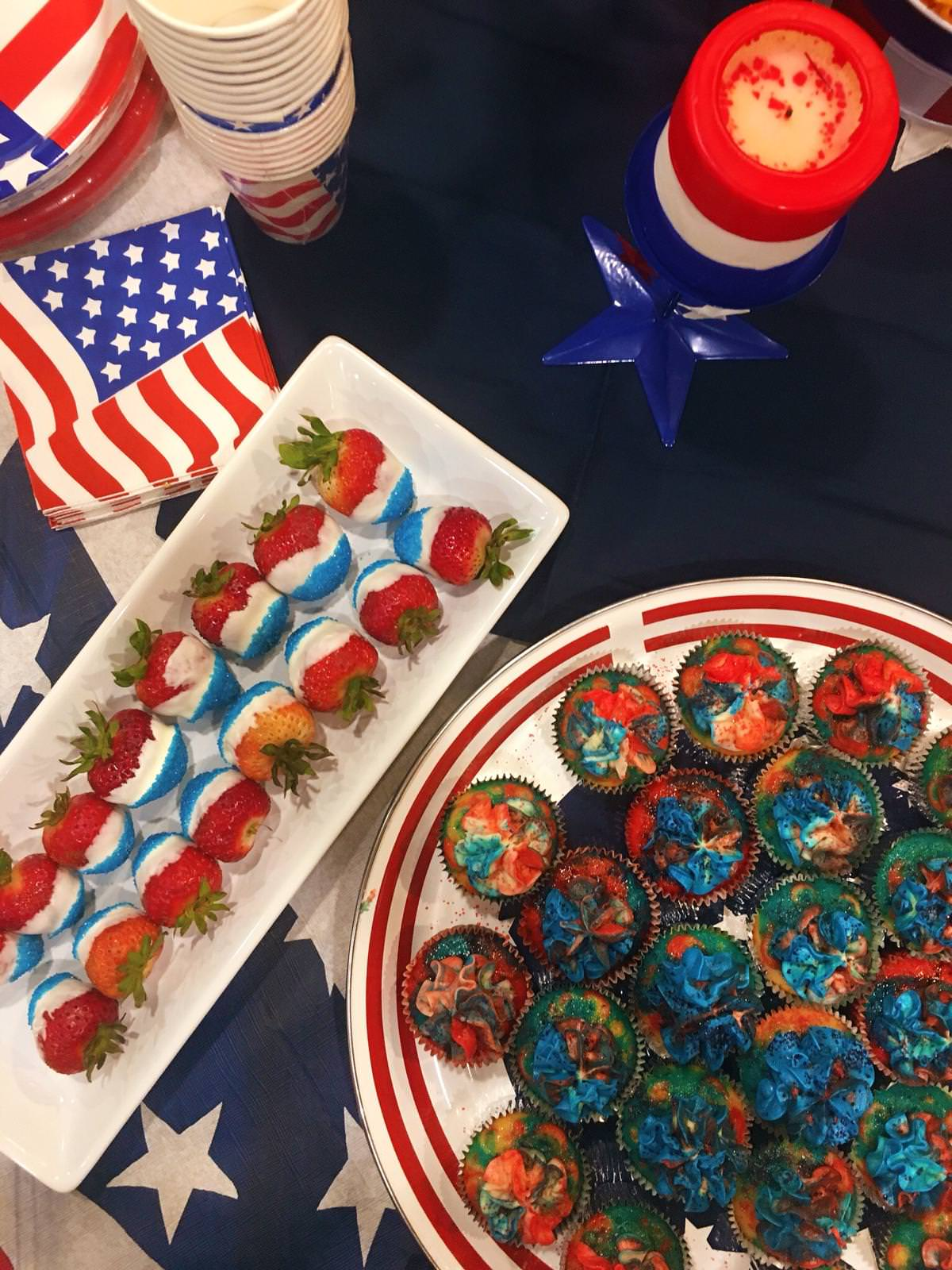 These lactose free vanilla cupcakes are red, white, blue, and ready for your Fourth of July party!