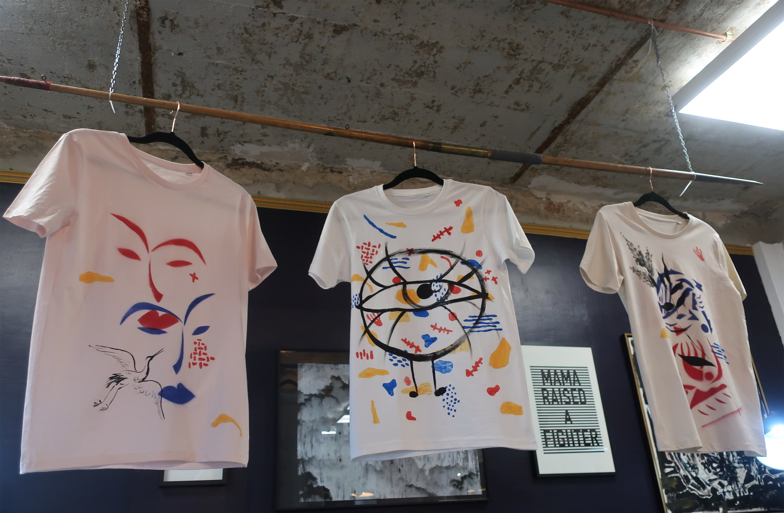 Collaborative hand customised tshirts by Salut Manu, Adria Deyza and Alba Rey.jpeg
