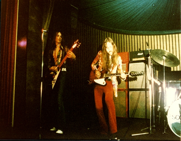 ...somewhere in 1974 - Rudolf Schenker & Uli with his Gibson Firebird guitar
