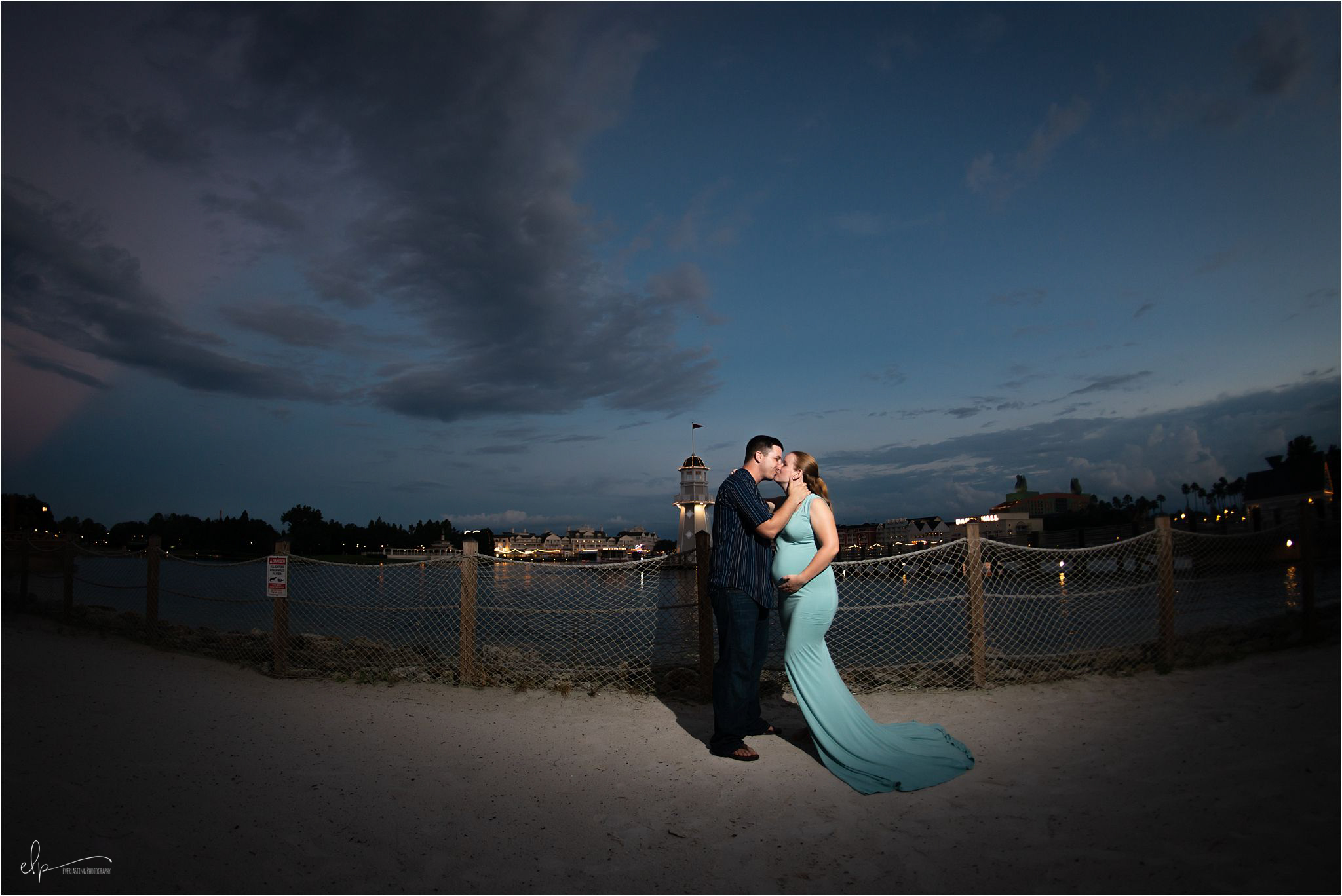 Maternity session during sunset at Disney's Beach Club Resort.